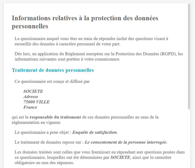 Informations RGPD pour les répondants