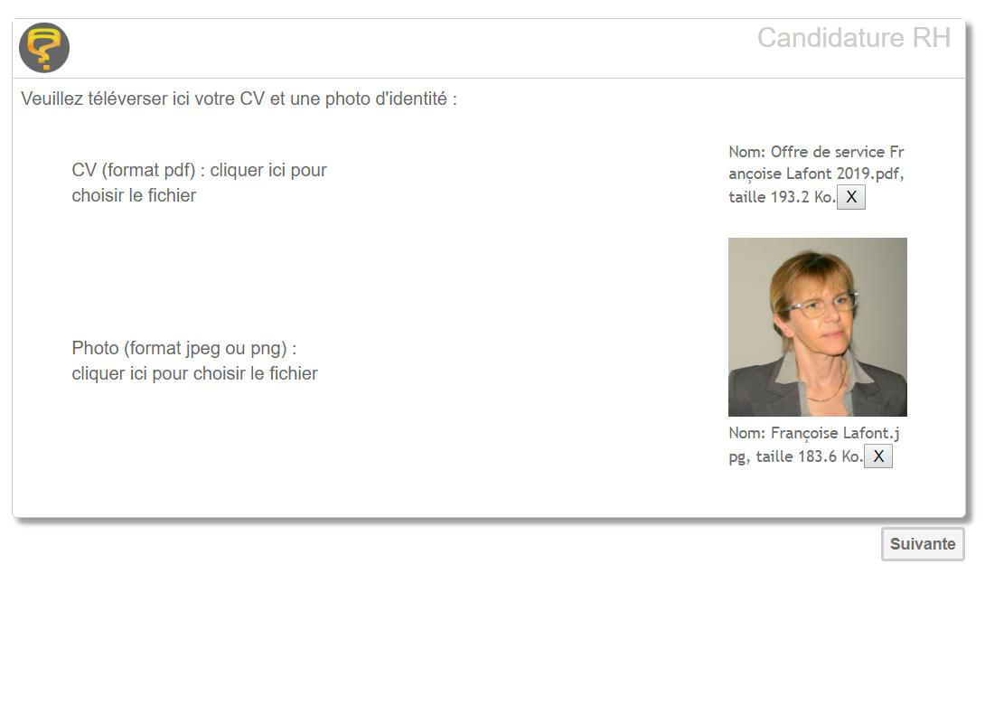 Exemple de question de téléversement de questionnaire-pro