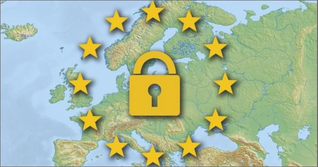 Carte de l'Europe avec symboles cadenas et étoiles