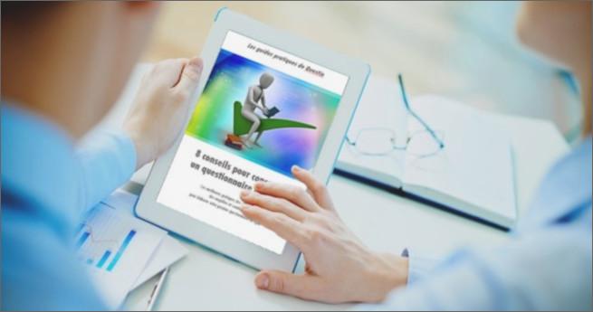 Illustration du livre blanc de Questio sur une tablette